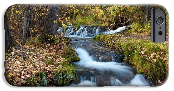 Creek iPhone Cases - Rushing Through Fall iPhone Case by Trever Miller