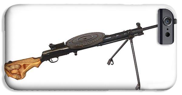 Copy Machine iPhone Cases - Russian 7.62mm Degtyarev Dp Machine Gun iPhone Case by Andrew Chittock
