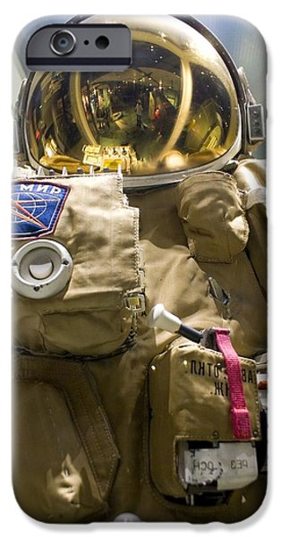United iPhone Cases - Russian Orlan Spacesuit iPhone Case by Mark Williamson