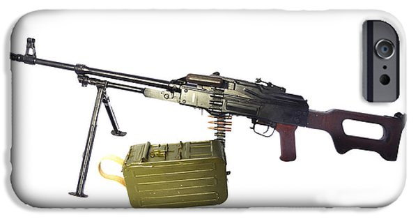 Copy Machine iPhone Cases - Russian Pkm General-purpose Machine Gun iPhone Case by Andrew Chittock