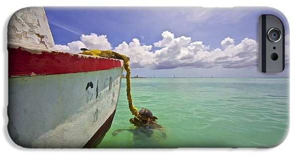 Marine iPhone Cases - Rustic Fishing Boat of Aruba iPhone Case by David Letts