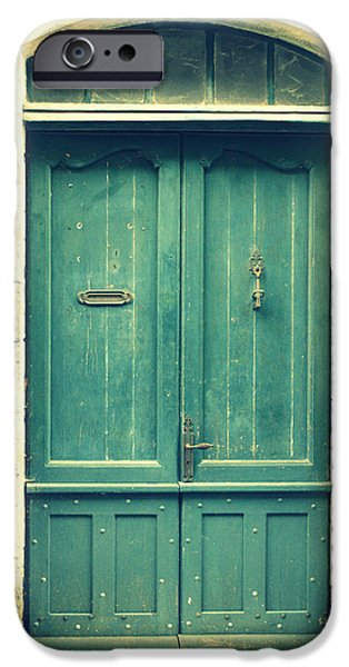 Rustic teal green door iPhone Case by Nomad Art And  Design