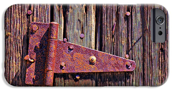 Rusty iPhone Cases - Rusty barn door hinge  iPhone Case by Garry Gay
