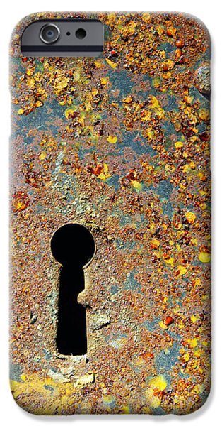 Bolts iPhone Cases - Rusty key-hole iPhone Case by Carlos Caetano