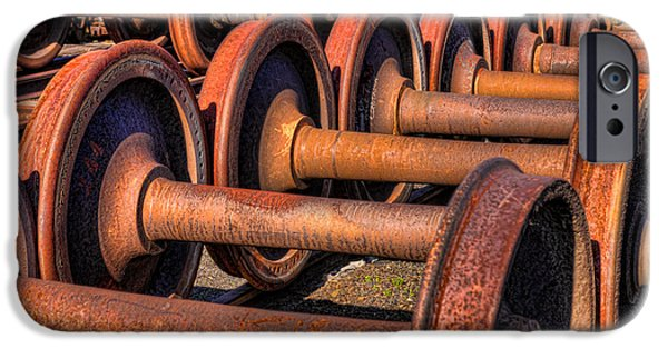 Historic Site iPhone Cases - Rusty Railroad Car Wheelsets iPhone Case by Clarence Holmes