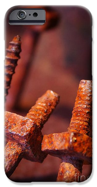 Component iPhone Cases - Rusty Screws iPhone Case by Carlos Caetano