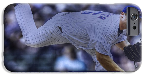 Wrigley Field iPhone Cases - Ryan Dempster iPhone Case by David Bearden