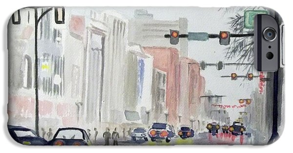 Rainy Day iPhone Cases - S. Main Street in Ann Arbor Michigan iPhone Case by Yoshiko Mishina