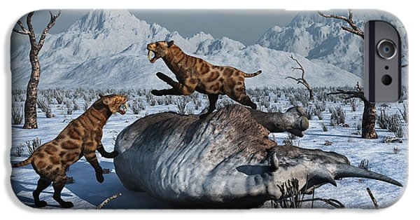 Fighting Tigers iPhone Cases - Sabre-toothed Tigers Battle iPhone Case by Mark Stevenson