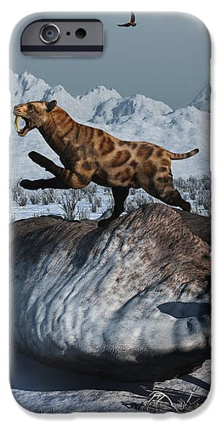Sabre-toothed Tigers Battle iPhone Case by Mark Stevenson