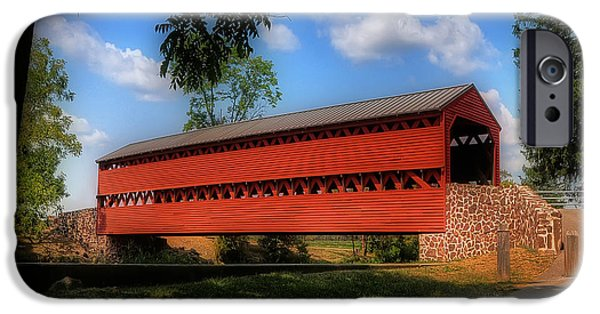 Covered Bridge iPhone Cases - Sachs Covered Bridge iPhone Case by Lois Bryan