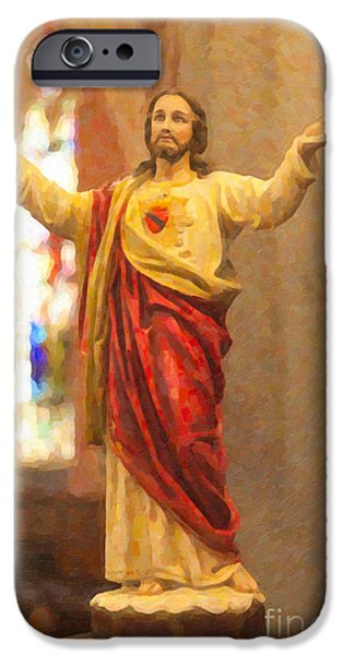 The Resurrection Of Christ iPhone Cases - Sacred Heart of Jesus iPhone Case by Clarence Holmes