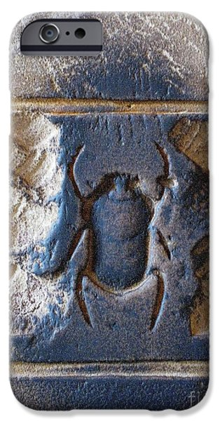 Ruins Pyrography iPhone Cases - Sacred scarab. iPhone Case by JSM Fine Arts John Malone