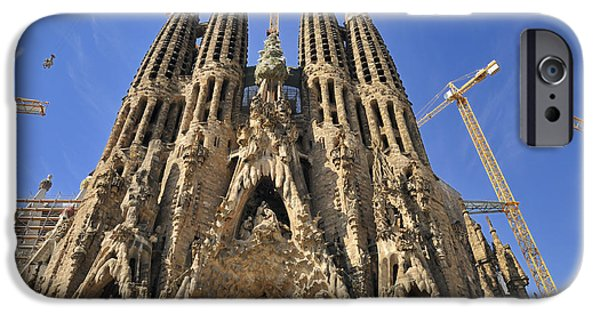 Spanien iPhone Cases - Sagrada Familia - impressive church from Gaudi in Barcelona iPhone Case by Matthias Hauser