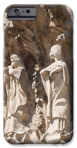 Sagrada Familia Nativity Facade Detail iPhone Case by Matthias Hauser