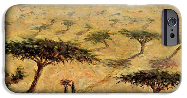 Northern Africa iPhone Cases - Sahelian Landscape iPhone Case by Tilly Willis