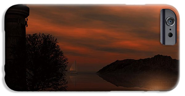 Sun Rays Digital iPhone Cases - Sail At Dusk iPhone Case by Lourry Legarde