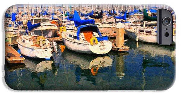 Bay Bridge Digital iPhone Cases - Sail Boats At San Franciscos Pier 42 . Dark Version iPhone Case by Wingsdomain Art and Photography