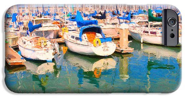 Bay Bridge Digital iPhone Cases - Sail Boats At San Franciscos Pier 42 iPhone Case by Wingsdomain Art and Photography
