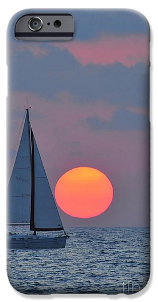 Psi iPhone Cases - Sailboat at sunset  iPhone Case by Shay Levy