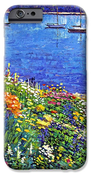 Painterly iPhone Cases - Sailboat Bay Garden iPhone Case by David Lloyd Glover