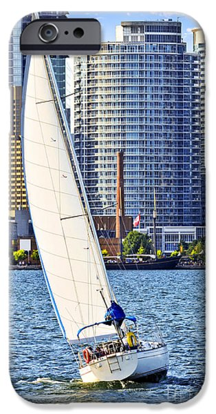 Sailboats iPhone Cases - Sailboat in Toronto harbor iPhone Case by Elena Elisseeva