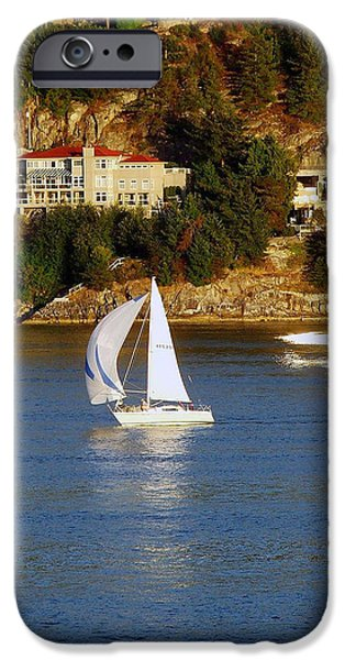 Sailboat Ocean iPhone Cases - Sailboat in Vancouver iPhone Case by Robert Meanor