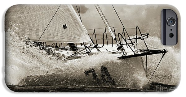 Fast iPhone Cases - Sailboat Le Pingouin Open 60 Sepia iPhone Case by Dustin K Ryan