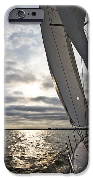 Sailboats iPhone Cases - Sailboat Sailing Beneteau 49 Charleston Harbor iPhone Case by Dustin K Ryan