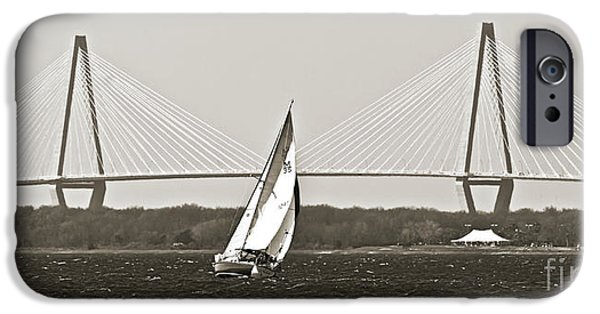 Sailboat Photographs iPhone Cases - Sailboat Sailing Cooper River Bridge Charleston SC iPhone Case by Dustin K Ryan
