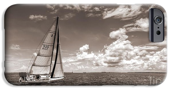 Sailboat Photographs iPhone Cases - Sailboat Sailing on the Charleston Harbor Sepia Beneteau 40.7 iPhone Case by Dustin K Ryan