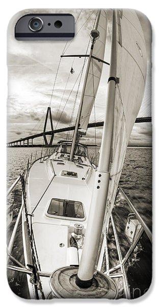 Sailing Photographs iPhone Cases - Sailboat Sailing Past Arthur Ravenel Jr Bridge Charleston SC iPhone Case by Dustin K Ryan