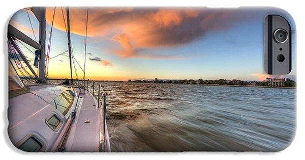 Sailing Photographs iPhone Cases - Sailboat Sunset Charleston Battery iPhone Case by Dustin K Ryan