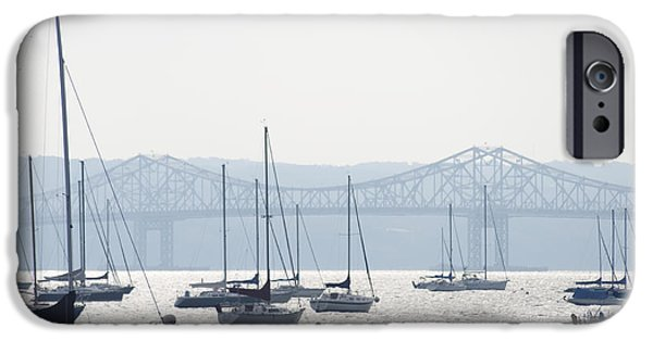 Hudson River Digital iPhone Cases - Sailboats and the Tappan Zee Bridge iPhone Case by Bill Cannon