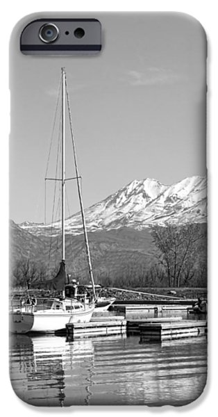 Sailboats Docked iPhone Cases - Sailboats At Utah Lake State Park iPhone Case by Tracie Kaska