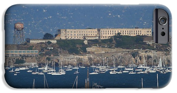 Alcatraz iPhone Cases - Sailboats In The San Francisco Bay Overlooking Alcatraz . 7D8080 iPhone Case by Wingsdomain Art and Photography