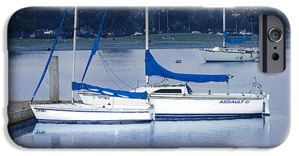 Sailboat Ocean Digital Art iPhone Cases - Sailboats San Diego iPhone Case by Betty LaRue