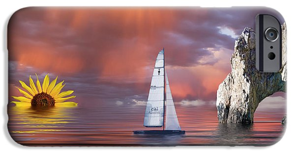 Evening Mixed Media iPhone Cases - Sailing at Sunset iPhone Case by Shane Bechler