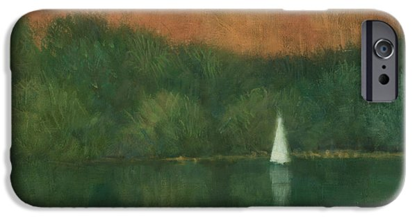 Tree Reflection iPhone Cases - Sailing at Trelissick iPhone Case by Steve Mitchell