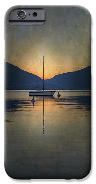 Ascona iPhone Cases - Sailing Boat At Night iPhone Case by Joana Kruse