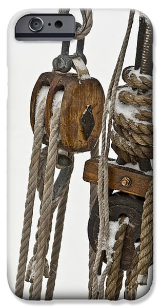 Wooden Ship iPhone Cases - Sailing Boat Detail with Snow iPhone Case by Heiko Koehrer-Wagner