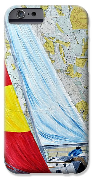 Sailing from the Charts iPhone Case by Michael Lee