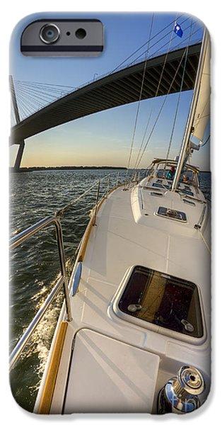 Sailing iPhone Cases - Sailing on the Charleston Harbor Beneteau Sailboat iPhone Case by Dustin K Ryan