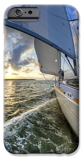 Sailing iPhone Cases - Sailing on the North Edisto Inlet During Sunset Beneteau 49 Fate iPhone Case by Dustin K Ryan