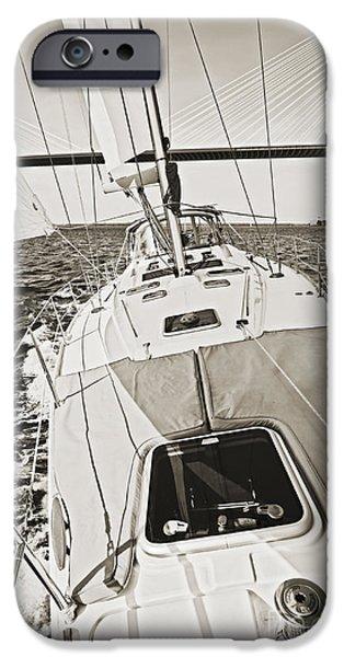 Sailing Photographs iPhone Cases - Sailing Sailboat Charleston SC Bridge iPhone Case by Dustin K Ryan
