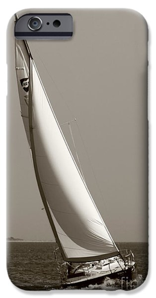 Sailboat Photographs iPhone Cases - Sailing Sailboat Sloop Beating to Windward iPhone Case by Dustin K Ryan