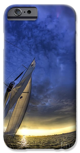 Sailing iPhone Cases - Sailing Sunset Beneteau 49 Yacht iPhone Case by Dustin K Ryan