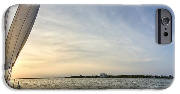Sailing iPhone Cases - Sailing Sunset Charleston SC Beneteau 49  iPhone Case by Dustin K Ryan