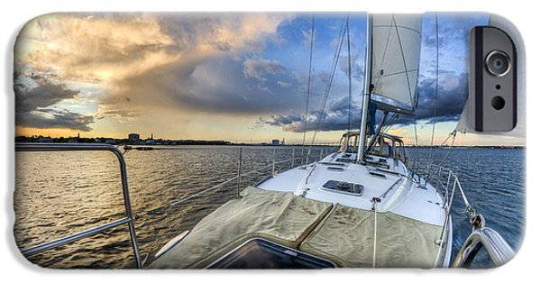 Sailing iPhone Cases - Sailing Sunset Charleston SC iPhone Case by Dustin K Ryan