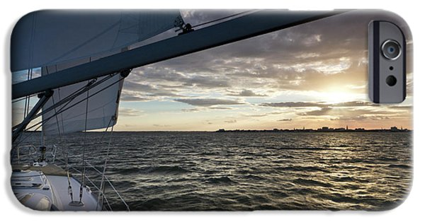 Sailing iPhone Cases - Sailing Sunset on the Charleston Harbor iPhone Case by Dustin K Ryan